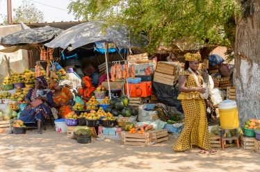 THIES, SENEGAL - Senegalese woman sells fruits at the market.jpg