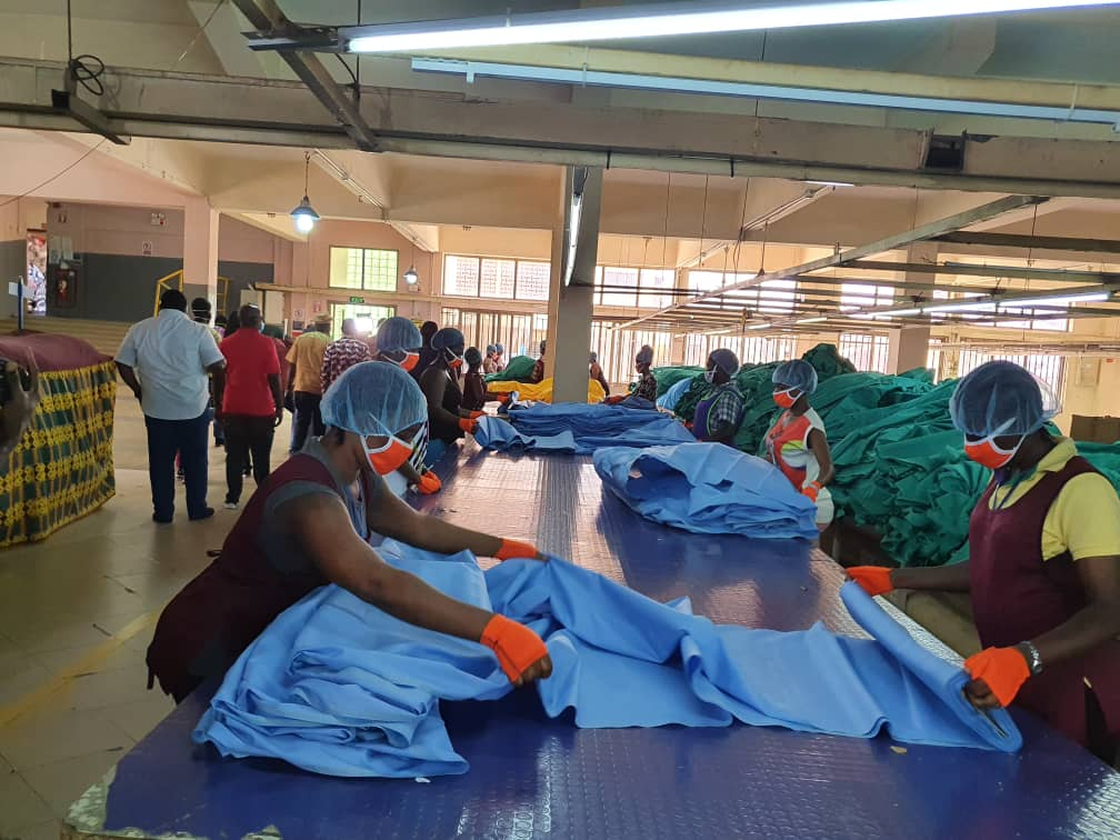 PPE production in a repurposed factory in Ghana